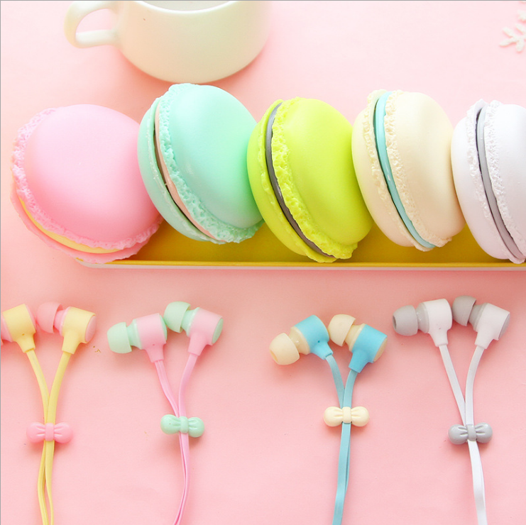 Macaron shaped colorful earphone, macaron headset headphone