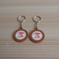 round cake shape customized high quality 3D soft pvc key chain