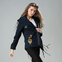 Elegant badge embroidery draw string waist coats sequins chains bomber jacket Hooded jacket women wind coat