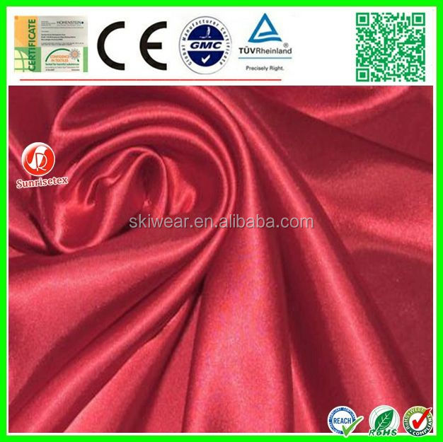 50*75D shiny spandex dyed polyester thick satin fabric