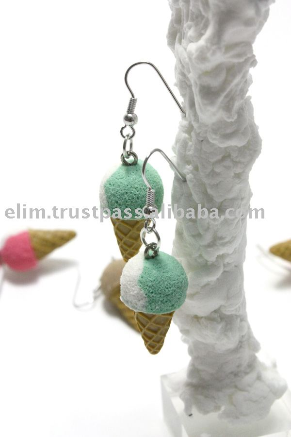 G3069 Mint Vanilla Icecream Cone Costume Handmade Earrings