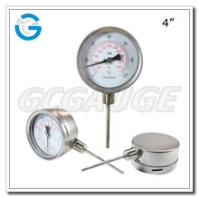 High quality all stainless steel thermometer bimetallic with bayonet bezel