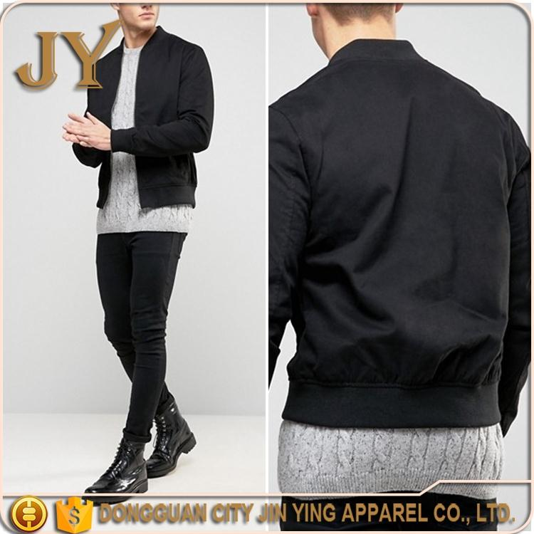 Men Causal Autumn Wear 2017 Fashion 100% Nylon Bomber Jackets Black Custom Garment