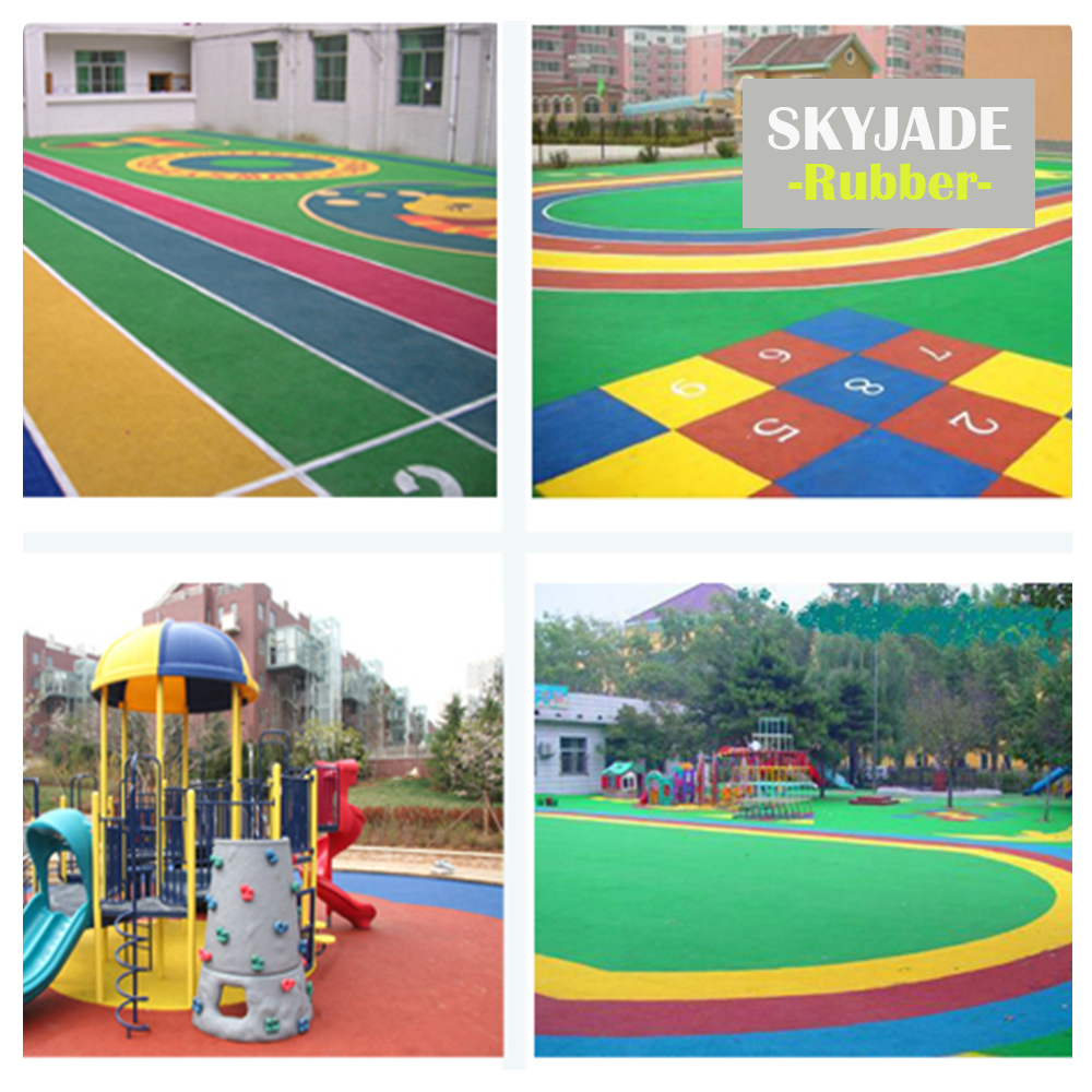 Red Green Yellow Blue EPDM Rubber Crumbs Running Track Children Playground Surface