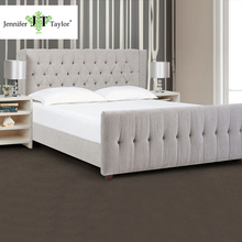 High quality modern king bed frame fabric bed/upholstered king size button tufting silver grey headboard set