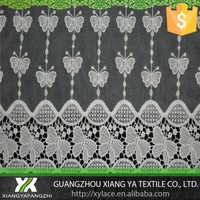 87053 milk silk chemical guipure designs high quality embroidery factory net mesh organza lace fabric crochet lace curtains