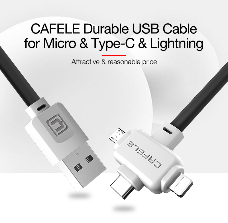 Original CAFELE 3 in 1 USB cable fast Charging Data Sync Cable for IOS 11 micro type c noodles style TPE cable for iphone X