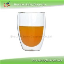 high temperature resistant borosilicate double wall glass cup