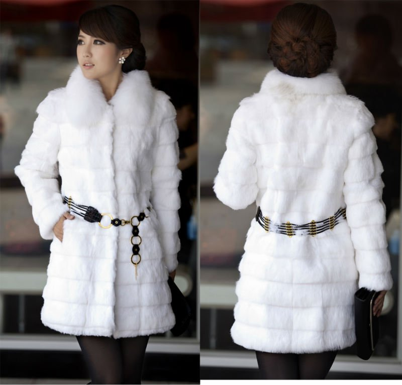 FA White lady fashion rabbit fur coat with fox fur collar
