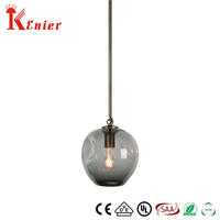 Retro Industrial Loft Brass Smoking Grey White Clear Color Glass Globe Hanging Light Pendant Lamp