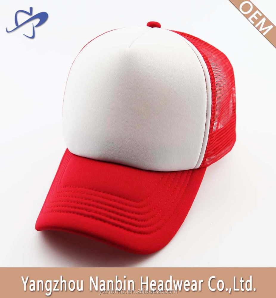 OEM promotional Plain 5 panel mesh baseball cap with composite sponge for gift or advertisement