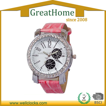 Fashion Design Crystal Watch Promotion Gift Leather Women Watch