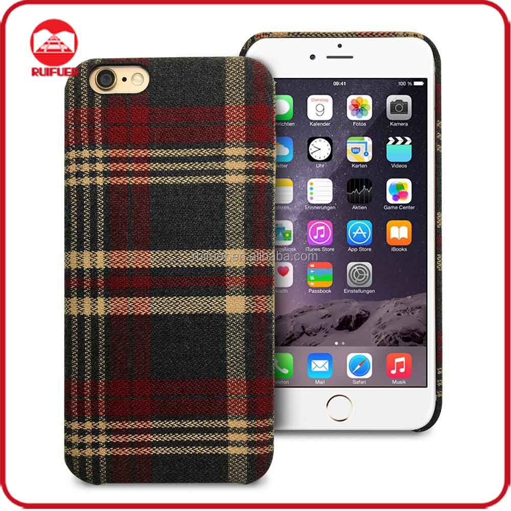 2016 New Arrive Fashion Classical Hard Plastic Cloth England Plaid Fabric Phone Case for Iphone 5 SE 6 6s Plus
