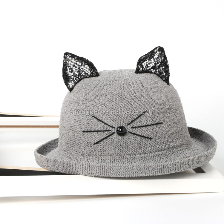 Factory supply promotional natural grass lady's promotional lace cat ear straw hat
