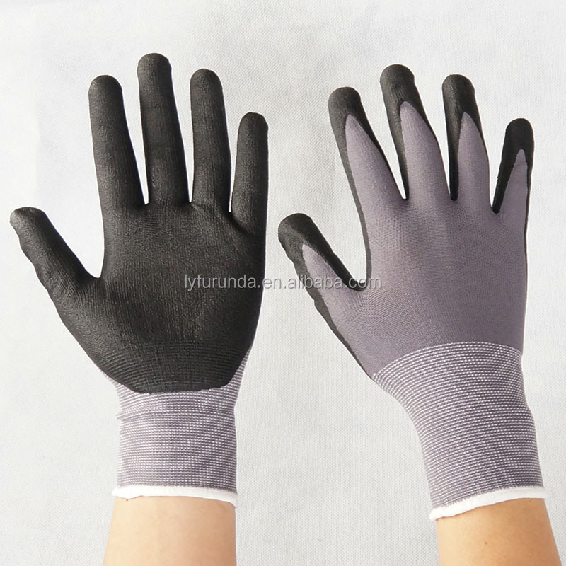 15guage spandex knitted working gloves coated with black pu micro foam palm