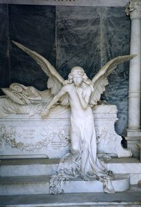 European cemetery angel statue stone carving and sculpture