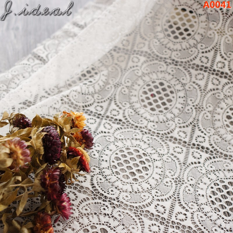 J.ideal mesh tulle raschel Alencon lace fabric 100% Cotton materials are soft comfortable ODM A0041