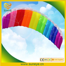 2017 New Hot Power Dual Line Stunt Parafoil Parachute Rainbow Sports Beach Kite with 2pcs 30m Nylon Flying Lines For Beginner