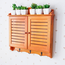 decorative wall hanging mounted wood new degign bedroom livingroom home wooden wall cabinet with hooks for key cloth sundry