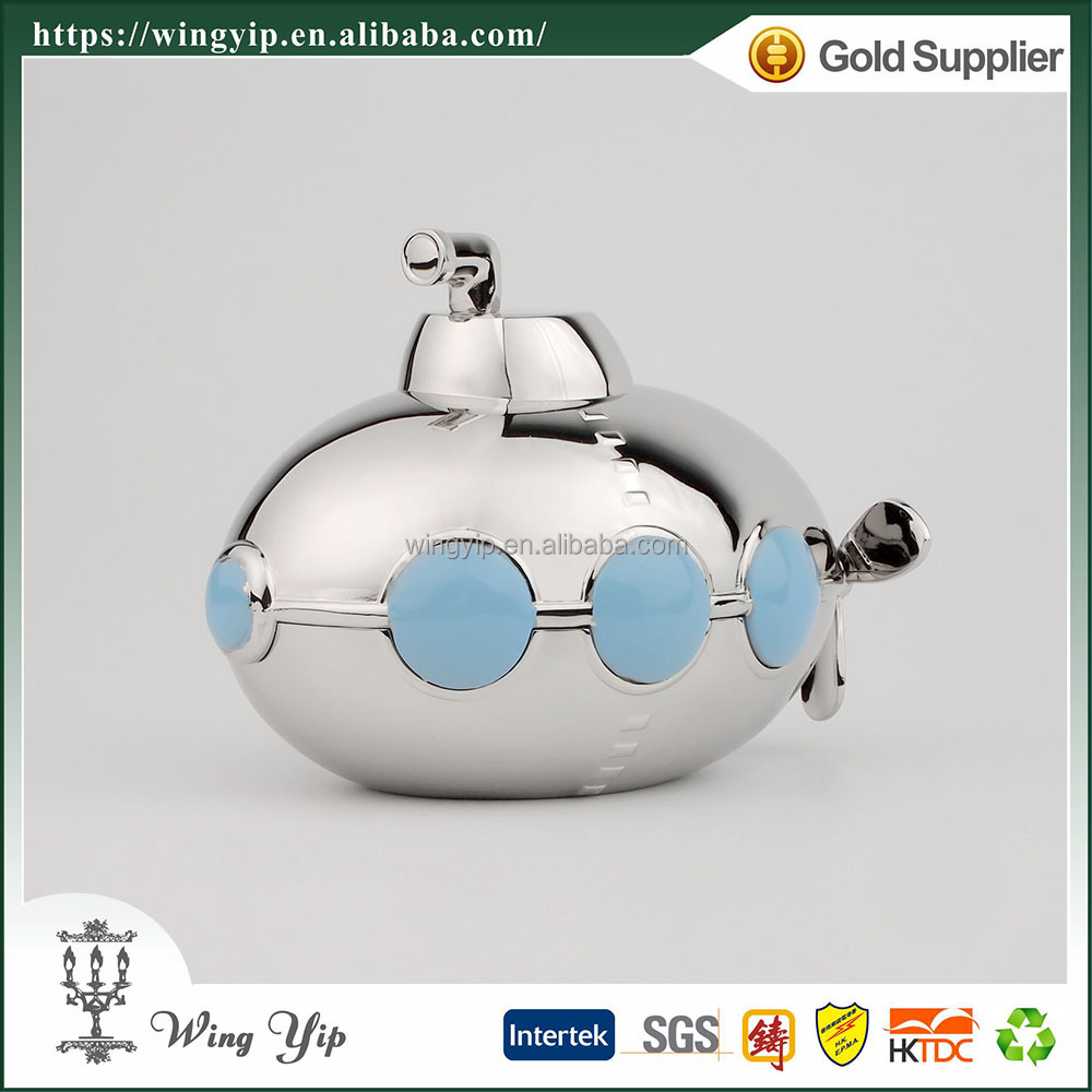 Wholesales Custom made Submarine Colorful Silver Money Box for Decoration