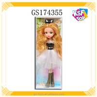 Plastic Baby Doll Blond Fashion Girl Doll With Glass Eyes