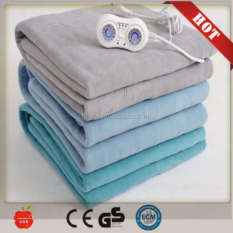 2016 New high quality body heat thermal blankets /flannel electric heated blanket/electric blanket queen with CE and GS approval