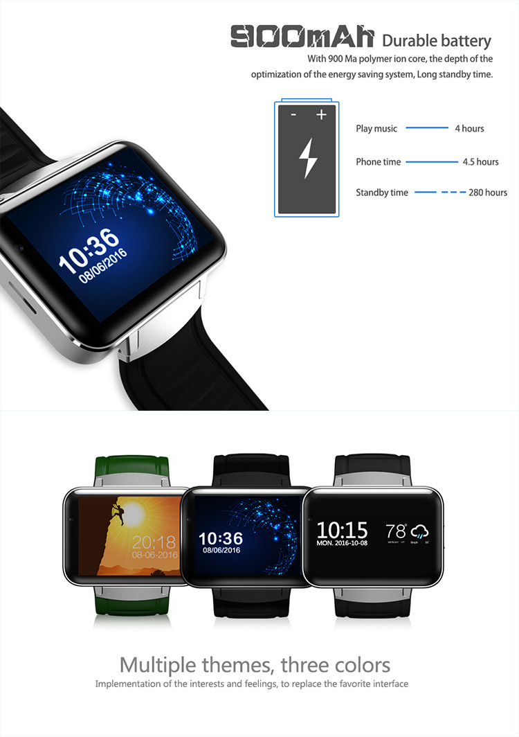DM98 2.2inch capacitive touch display 130w camera Android 4.4 bluetooth 3g wifi gps watch