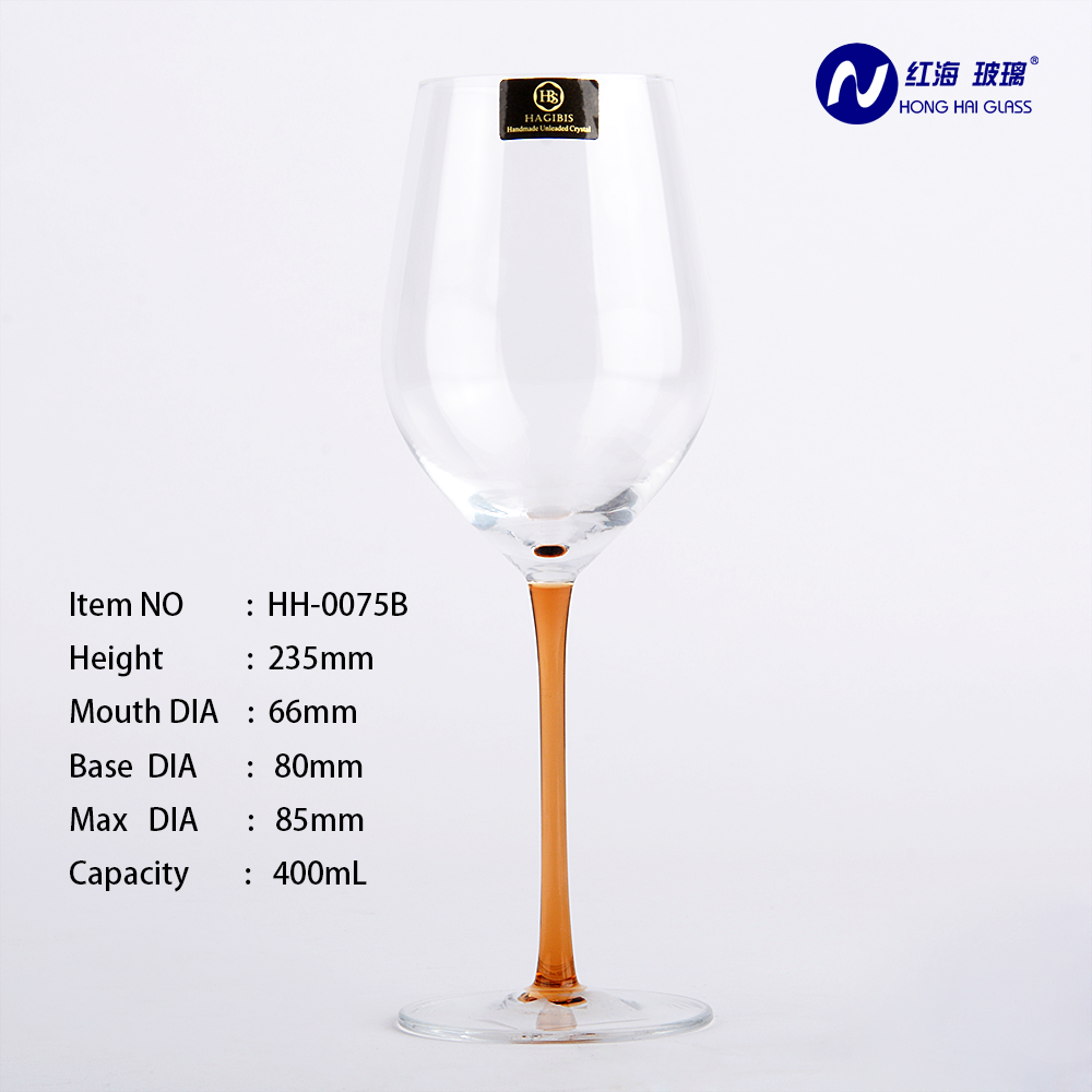transparent <strong>glass</strong> cup popular style wine cup wholesale goblet hadmade good quality wine <strong>glass</strong> with orange color HH-0075B