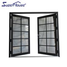 China supplier aluminum double leaf tempered glass hinged door with decorative grilles
