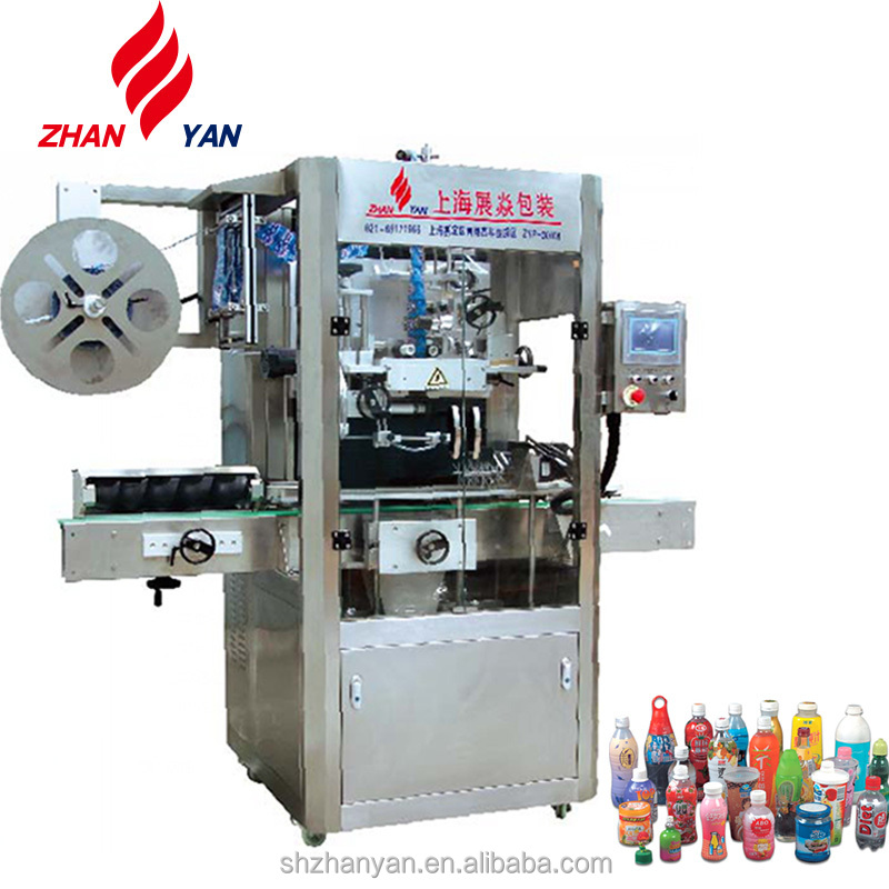 Food Industry Automatic Sleeve Labeling Machine For Flat / Round / Square Water Bottles