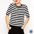 midi sleeve stripe shirt women classical stripe tops stripe jersey t shirt women clothing diamond t shirt