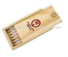 natural wood color pencil set in wooden case