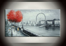 Handpainted Paris Scenery Canvas Oil Painting For Bedroom Painting With Frames Stretched Home Decoration