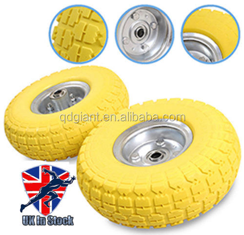 "2 x10"" Solid Rubber Tyre Wheel Replacement No More Flats Sack Truck Trolley Cart"