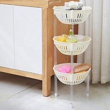 3 Tier Plastic Round Fruit Veg Vegetable Kitchen And Pantry Storage Rack <strong>Shelf</strong>