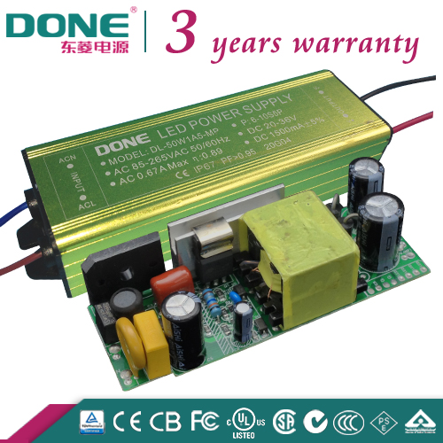 110V 220V 3 Year Warranty 50W 1500ma High PF IP65 Outdoor LED Driver for Street Light