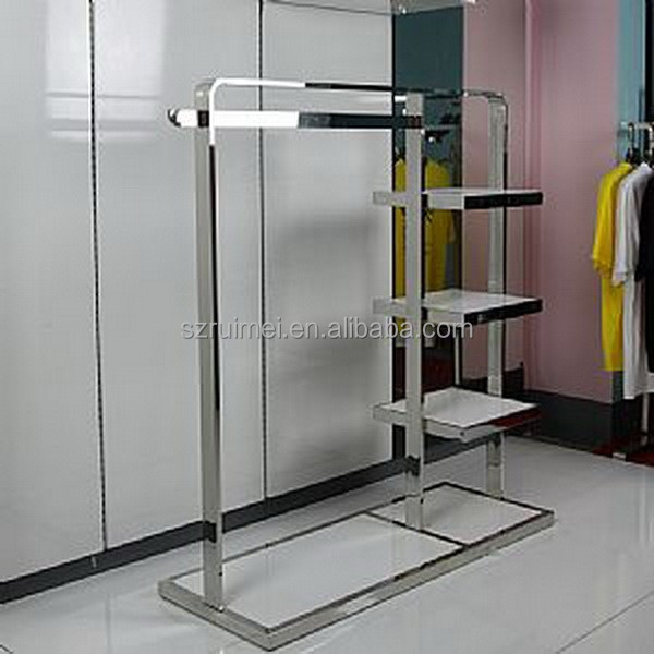 Silvery chromium plated cloth shop counter table design
