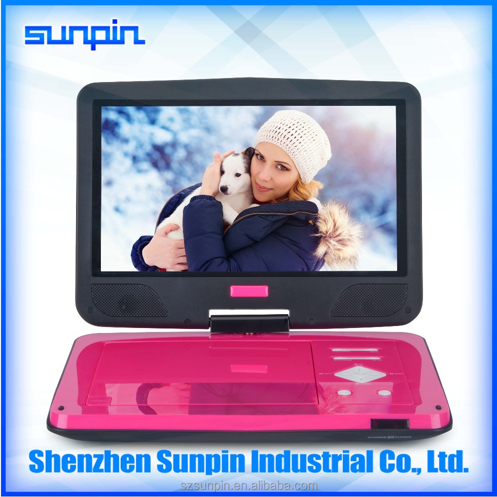 10 inch portable rechargeable tv player dvd portable player with folding tv