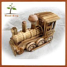 Force Control Engine Model Wooden Steam Locomotive Furnishing Articles Wholesale Craft Plywood Toys Children Wood Toy