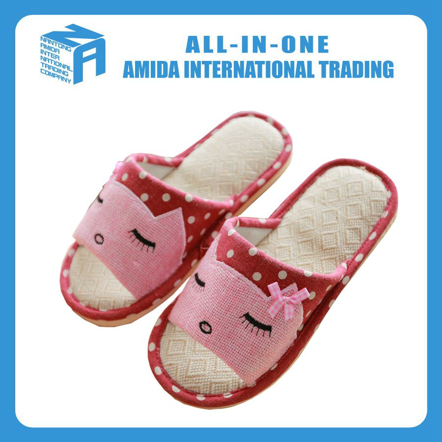 Cartoon indoor antiskid flax cool <strong>slippers</strong>