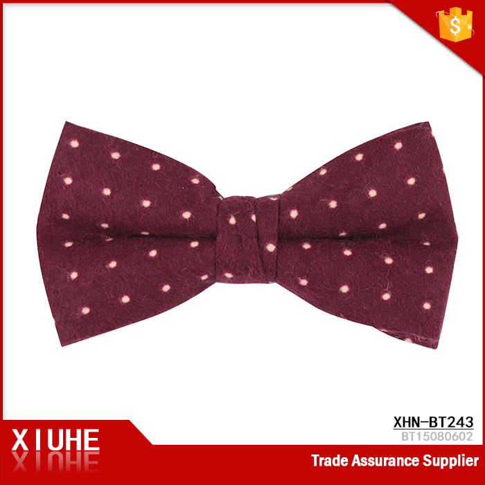 2017 Fashion mens white dot burgundy cotton bow tie
