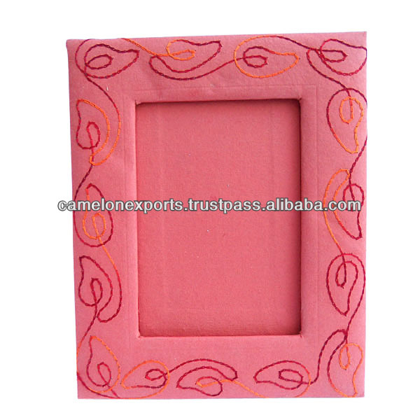 Decorative custom design handmade paper cardboard with red color embroidery