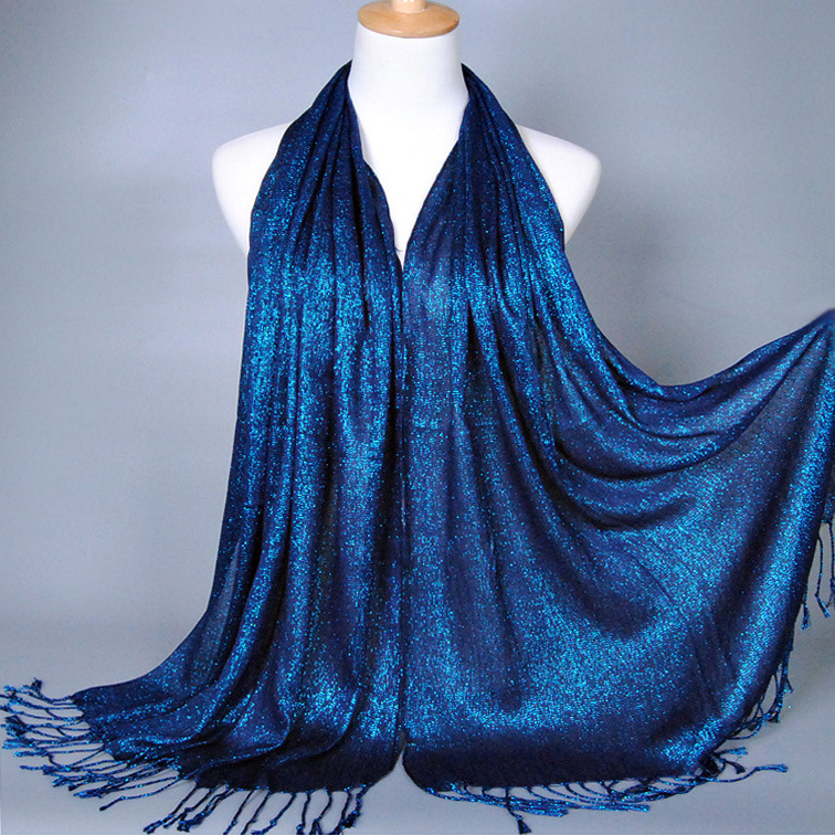 Lady solid color scarf tassel shawl golden wire <strong>cotton</strong> fabric scarf women hijab