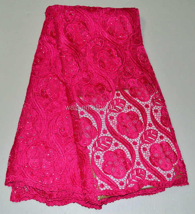 New Design Customized 2015 fushia Guipure Lace Fabric Cord Lace Fabric with flower LE50638-6