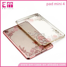 Flower Electroplated Soft TPU Case With Diamond For Ipad Mini 4 Tablet