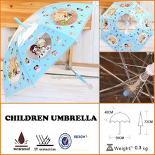windproof pvc cartoon straight clear bubble kids umbrella