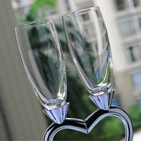 fashion heart shape lead free crystal champagne flutes/glasses clear170ml wedding toasting wine glasses metal stand gifts