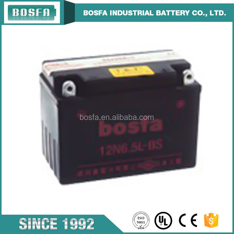 China manufacturer 12v 6.5ah 12N6.5L-BS motorcycle battery prices