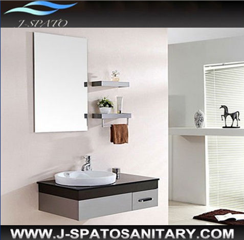 Best and cheaper 304 Stainless Steel furniture in high gloss stylish white wall mounted european bathroom vanity