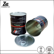 food grade empty easy open lid tin can, round metal tin can for packing engine oil/ coffee beans/edible oil/fish/vegetables